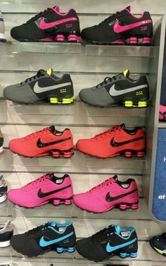 Nike Shox at Champs Nike Shox Shoes, Nike Tennis Shoes, Nike Shoes Cheap, Nike Free Shoes, Nike Sneakers, Cheap Nike, Neon Shoes, Roshe Shoes, Sneakers Women