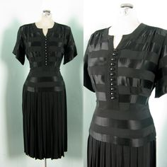 Vintage 1940s Black Dress 40s Satin Pleated by TravelingCarousel