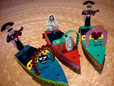 Flaming Corazon Xochimilco style tin candle powered boat