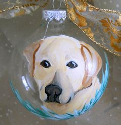Yellow Lab Hand Painted Clear Glass Ornament by LisaDeFeoArt