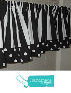 Black and White Striped Valance with Polka Dot Trim 52 Inches Wide by 15 Inches Long from ALK Curtain Company https://www.amazon.com/dp/B01LTHCN84/ref=hnd_sw_r_pi_dp_Wh7Dyb6E2N6T0 #handmadeatamazon