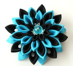 Kanzashi fabric flower brooch . Black and turquoise by JuLVa