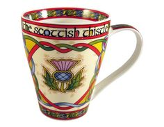 Great for morning coffee or tea! Bone china mug with celtic knotwork and Scottish thistle.