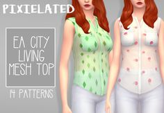 """- 14 patterns of EA's Sheer top - adds swatches to the originals - female, teen to elder - feel free to tag me using #pixielated - you can request things for me to recolour next - requires City Living "" TOU Download: SimFileShare/MediaFire"