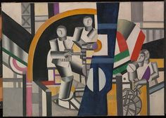 The quintessential painter of the machine age, Léger observed the effects of modern technology in the trenches as a solider in the French army during World War I. Featuring workers whose bodies appear to be assembled from standardized industrial parts, The Builders exemplifies the style that Léger developed after the war to convey his belief that all of modern life was succumbing to the machine