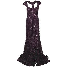 ELIE SAAB Sequin Embellished Gown (€8.690) ❤ liked on Polyvore featuring dresses, gowns, long dresses, elie saab, vestidos, women, sequin dress, long sequin dress, cap sleeve evening gown and purple evening gown