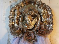Cherub silverplate art piece wall hanging by AnitaSperoDesign