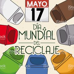Colored Trash Cans for International Recycling Day in Spanish Free Vector Art, Image Now, Spanish, Recycling, Canning, Day, Illustration, Color, Colour