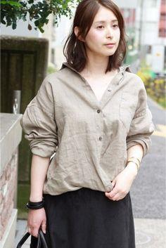 フレンチリネン2Wayカシュクールシャツ