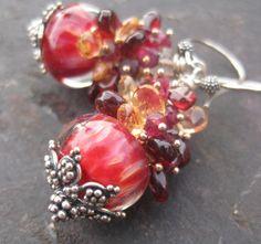 Boro lampwork bead earrings citrine garnet by seafairiesjewelbox, $78.00