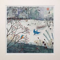 Mounted print of snowscene with river and kingfishers from an original mixed media painting 'Winter Kingfishers by Jo Grundy Painting Snowflakes, Sweet Magic, Acrylic Painting Tutorials, Christmas Scenes, Country Art, Naive Art, Mixed Media Painting, Kingfisher, Illustrations