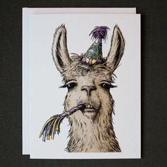 Llama Happy Birthday Card w/Envelope {Single Card}
