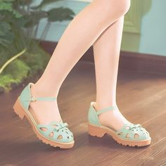 Japanese Kawaii Fashion Sandal on Mori Girl の森ガール.2017 Mori Sweet Bow Cutout Sandal Preppy Cute Girly Shoe Mg515 The unique design,full of young vitality and glamour.
