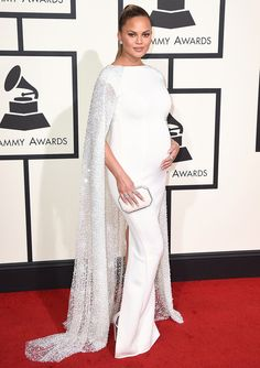 Best dressed at the 2016 Grammy Awards: Chrissy Teigen in a white Yousef Al-Jasmi gown cape dress
