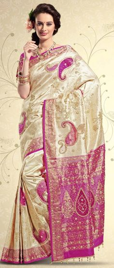 Cream Pure Brocade #Silk #Saree with #Blouse @ $824.39 | Shop @ http://www.utsavfashion.com/store/sarees-large.aspx?icode=skl1230