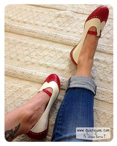 Dotty Red - Red and white flat leather shoes