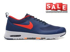 NIKE AIR MAX THEA (NIKE ID) - CHAUSSURES NIKE SPORTSWEAR PAS CHER POUR HOMME Bleu nuit marine/Rouge Université 599409-461iD-H