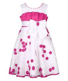 Look at this #zulilyfind! 19.99 Fuchsia & White Floral Big Bow Party Dress - Toddler & Girls #zulilyfinds