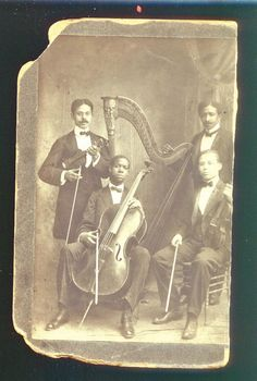 1895 African American Black Orchestra Musician Cabinet Card Photo Rare Pittsburg