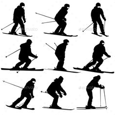Buy Skier Silhouette by aarrows on GraphicRiver. Black silhouettes set snowboarders on white background. Silhouette Sport, Black Silhouette, Ski And Snowboard, Snowboarding, Skiing, Ski Film, Middle School Art, Surf Art, Sports Activities