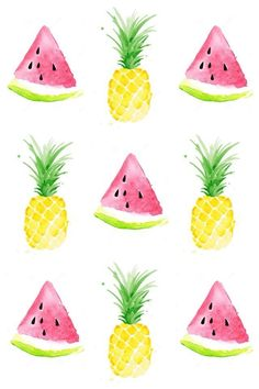 """Pineapple & watermelon background Más cool pineapple wallpaper pineapple wallpaper on…""""Pastel Pineapple"""" design by Emanuela Carratoni…Who doesnt love a bright bold yellow pineapple? Cute Wallpaper Backgrounds, Pretty Wallpapers, Cute Summer Backgrounds, Cute Summer Wallpapers, Trendy Wallpaper, Wallpaper Desktop, Disney Wallpaper, Wallpaper Ideas, Wallpaper Quotes"""