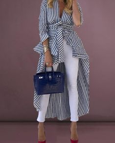Shop Striped Tied Front Dip Hem Shirt Discover sexy women fashion at IVRose - July 20 2019 at Look Fashion, Fashion Outfits, Casual Outfits, Fashion Boots, Long Shirt Outfits, Womens Fashion, Girl Outfits, Long Shirts, Fashion Blouses