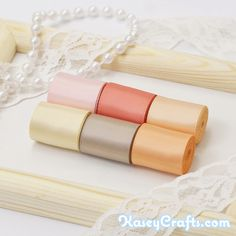 bridal bouquet ribbons - range of peach tones and complementing tones