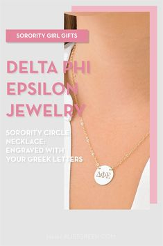 Sorority circle necklaces are the easiest gift for any celebration: Recruitment, Bid Day, Back to School & Big/Little. Spoil your new sorority girl with our simple and dainty Greek letter circle necklace! Delta Phi Epsilon Gifts | Delta Phi Epsilon Bid Day | DPhiE Necklace | Delta Phi Epsilon Jewelry | Sorority Bid Day | Sorority Recruitment | Sorority Jewelry Gifts | Sorority College Gift | Sorority New Member Gift Ideas | Dainty Jewelry | Simple Gold Necklace #SororityGifts #SororityJewelry Gold Necklace Simple, Circle Necklace, Simple Jewelry, Dainty Jewelry, Jewelry Gifts, Sorority Bid Day, College Sorority, Sorority Gifts, Sorority Recruitment