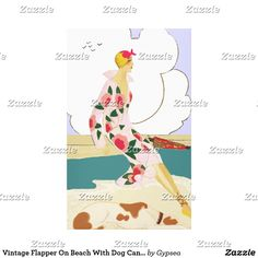 Vintage Flapper On Beach With Dog Canvas Print