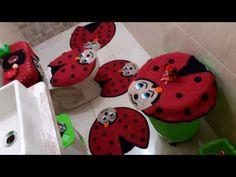 tuor pelo meu banheiro no jogo de crochê da joaninha - YouTube