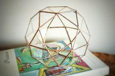 New!! Geometric Glass Terrarium / Medium Icosidodecahedron /  Handmade Glass Terrarium /Christmas Table Centerpiece /Stained Glass Terrarium door MuditaCrafts op Etsy https://www.etsy.com/nl/listing/243480304/new-geometric-glass-terrarium-medium