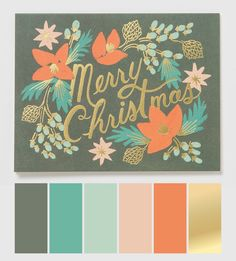 Designed by Anna Bond for iconic stationery brand, Rifle Paper Co.Illustrated by Rifle Paper Co. Printed on natural white cover paper in the UK Size: 108 x Colour Pallette, Color Palate, Colour Schemes, Color Patterns, Color Combinations, Christmas Colors, Christmas Cards, Christmas Greetings, Christmas Holiday