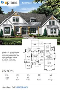 Family House Plans This farmhouse design floor plan is 2258 sq ft and has 3 bedrooms and has bathrooms. Family House Plans, New House Plans, Dream House Plans, Dream Houses, 2200 Sq Ft House Plans, House Plans With Photos, Ranch House Plans, Farmhouse Floor Plans, Modern Farmhouse Exterior