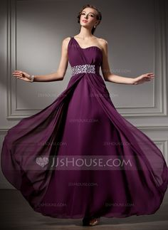 Prom Dresses - $132.99 - A-Line/Princess One-Shoulder Floor-Length Chiffon Prom Dress With Ruffle Beading (018004882) http://jjshouse.com/A-Line-Princess-One-Shoulder-Floor-Length-Chiffon-Prom-Dress-With-Ruffle-Beading-018004882-g4882