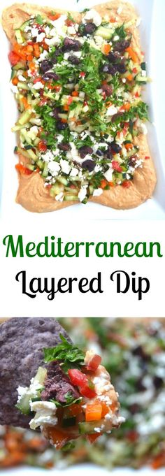 Mediterranean layered dip- featuring hummus, feta, olives and diced vegetables. A quick and flavorful 10-minute appetizer!