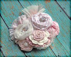 Light Pink White Hair Accessory, Headband, Fabric Flower Brooch. $27.50, via Etsy.