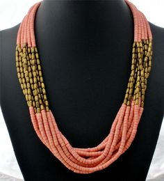Coral Shell Heishi Bead Brass Estate Multi Strand Hand Crafted Necklace Vintage | eBay