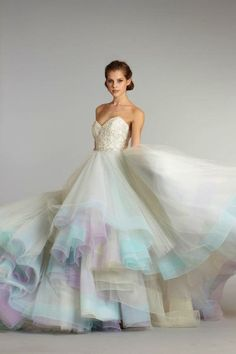 Rainbow-hued wedding gown by Lazaro (Fall 2012) | Watercolour Pastels Inspiration Board