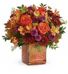 Hand-arranged in a shimmering opalescent mercury glass cube with gorgeous golden ombre finish, this vibrant autumnal arrangement is a beautifully breathtaking surprise! Fast Flowers, Bohemian Flowers, Order Flowers Online, Same Day Flower Delivery, Fall Bouquets, Rustic Bouquet, Fall Wedding Flowers, Orange Roses, Mylar Balloons
