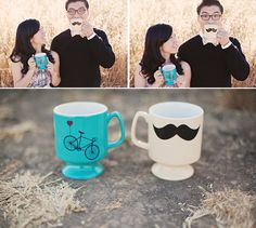 Silly engagement photos with fake mustaches! http://www.bridaltweet.com/profiles/blogs/a-modern-engagement