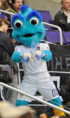 LA Galaxy Mascot Cozmo with Flat Cozmo at LA Kings Hockey Game vs. Wild December