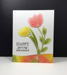 Spring Flowers: Simon Says Stamp, #SSSFAVE, embossing, sponging, by beeesmom at splitcoast