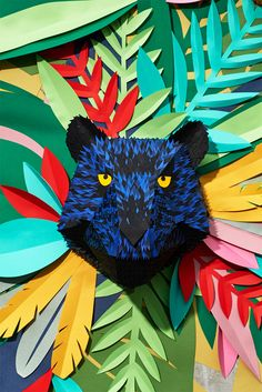 mlle hipolyte recreates a tropical jungle with hand-cut paper pieces