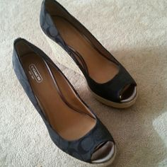 Coach wedges Black coach sandals: worn twice. Size 10 but fit like a size 9 Coach Shoes Wedges