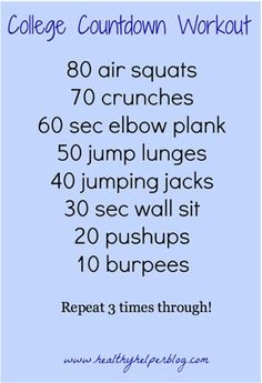 College countdown workout
