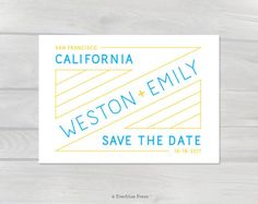 This wedding save the date was inspired by vintage neon store signs. Its blue & yellow colors remind us of a sunny California beach day. This printable pdf save the date would work for weddings, engagement parties, showers, or other events. Wedding signs, decor, stationery & more from Everblue Press