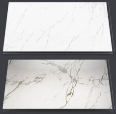 Dekton's marble-look Kairos, top, and Aura, shown in 126-by-56-inch pieces.