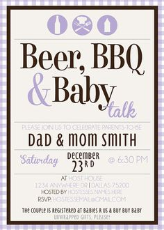 Beer BBQ & Baby Talk Baby Shower Invite Printable by KateOGroup, $15.00