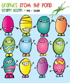 Scrappy Dozen Easter Egg Clipart