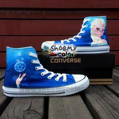 Custom White High Top Elsa Pure Hand Painted Converse Canvas Sneaker for Women Men